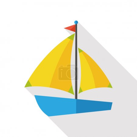 Sail Boat flat icon with long shadow