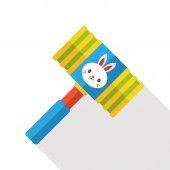 Toy hammer flat icon