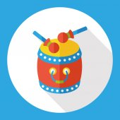 Čínština drum ploché ikony ikony elementu