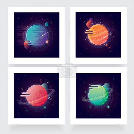 Illustration for Four vibrant colorful planets with stars and speeding comets. Outer space conceptual icons in modern flat design style - Royalty Free Image