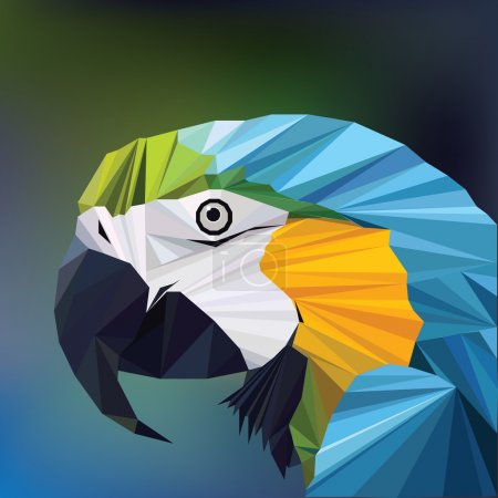 Polygon macaw parrot head