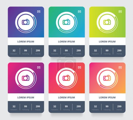Colorful social profile card elements