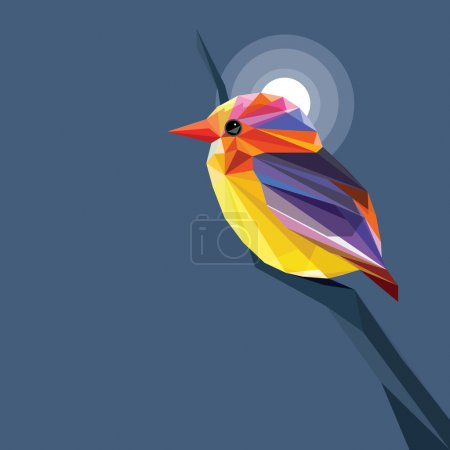 Abstract bird with vibrant multicolored feathers