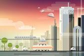 Futuristic industrial urban cityscape