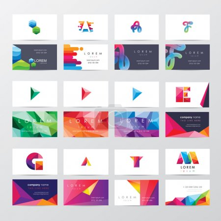 Illustration for Large collection of colorful business card template designs with logo icons for business visual identity - Royalty Free Image