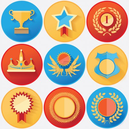 Rewards and achievements medals set collection