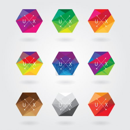 Photo pour Trendy abstract hexagon icon elements set in colorful polygon style with triangular geometric pattern - image libre de droit