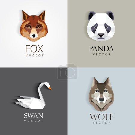 low polygon style animal logos
