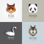 Trendy low polygon style animal logos for business visual identity -swan fox panda bear and wolf- modern geometric triangular style