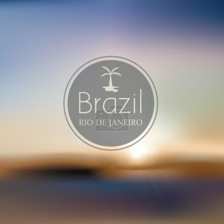 Illustration for Brazil beach blurry landscape vector illustration - Royalty Free Image