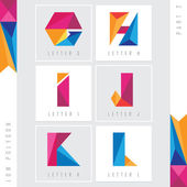low polygon alphabet letters