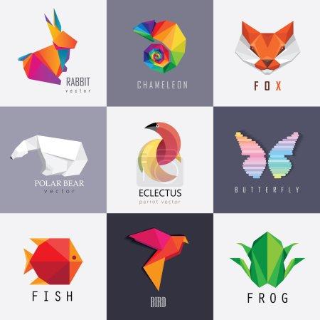 Illustration pour Logos animaux colorés abstraits éléments de conception pour l'identité visuelle des entreprises - image libre de droit