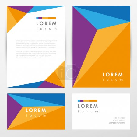 Illustration for Multicolored corporate identity letterhead and business card mockup templates with abstract geometric pattern design and polygon logo element - Royalty Free Image