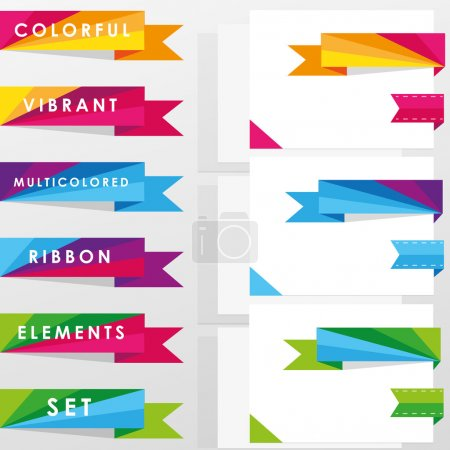 Colorful vibrant multicolored ribbon elements