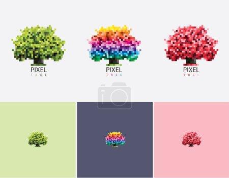 vivid pixel tree logo set