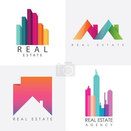 Set of real estate logo designs