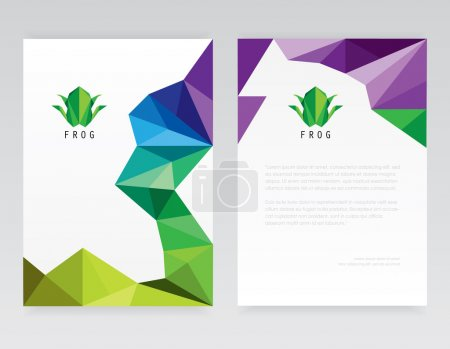Abstract multicolored low poly style brochure and letterhead template mockups with triangular frog logo design elements for corporate identity