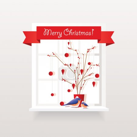 Illustration for Vector illustration of red Christmas window decorations with red berries branches arrangement, hanging ornaments and two cute bluebirds - Royalty Free Image