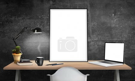Isolated poster frame and laptop on office desk for mockup. Lamp, cactus, pencils, book, cup of coffee on table.
