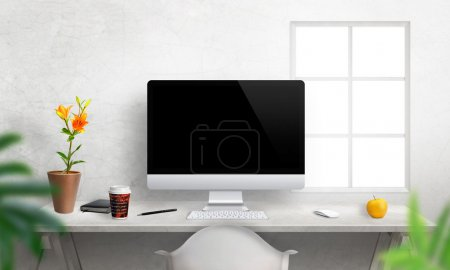 Computer with isolated screen for mockup on office desk.