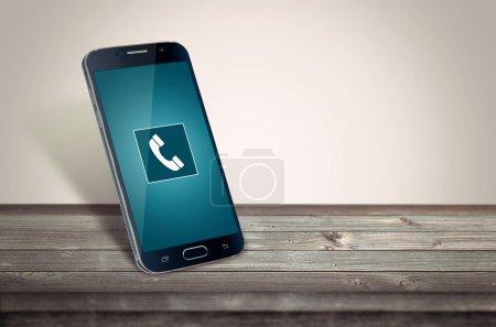 smart phone on table calling mockup