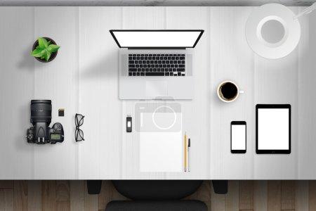 Photo pour Scène de maquette de bureau avec des appareils de haut - image libre de droit