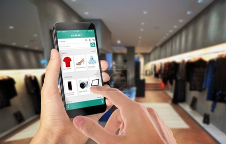 Smart phone online shopping in man hand