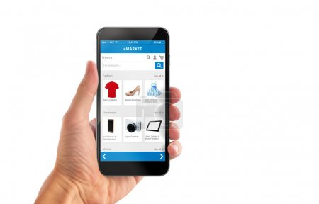 Smart phone online shopping in man hand isolated