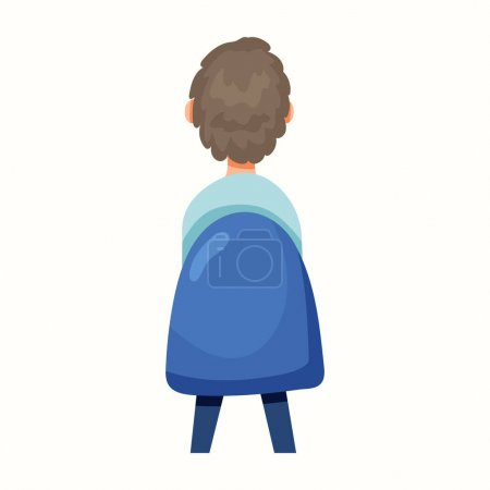 Illustration for The man sits with his back on a chair. Vector illustration in flat style - Royalty Free Image