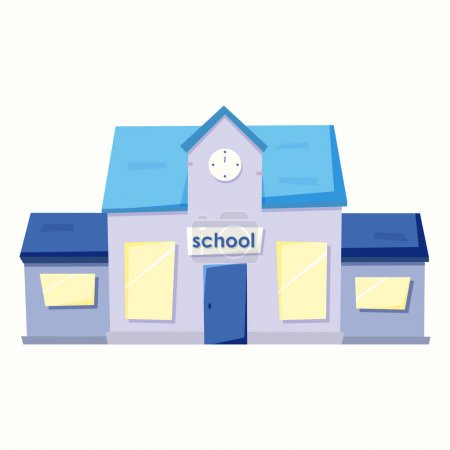 Illustration for School in cartoon style. Vector illustration in flat style - Royalty Free Image