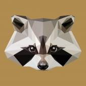 Low poly raccoon Isolated Vector