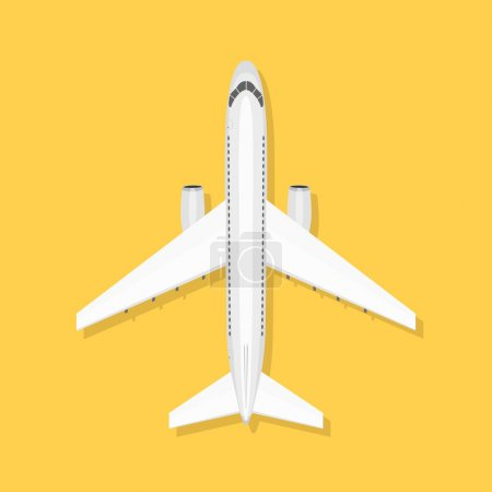 Illustration for White airplane on isolated background. Aircraft is on the ground. Airliner. View from above - Royalty Free Image