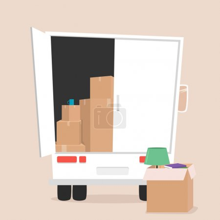 Moving with boxes. Transport company