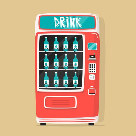 Vintage vending machine with drinks. Retro style. Purchase of water