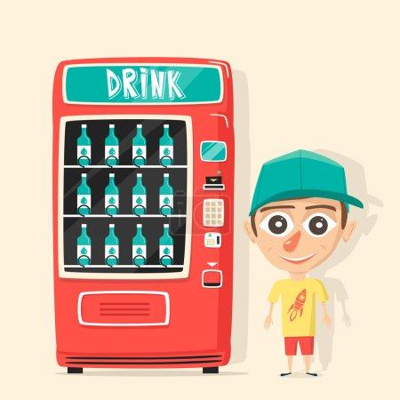 Vintage vending machine with drinks. Retro cartoon style.