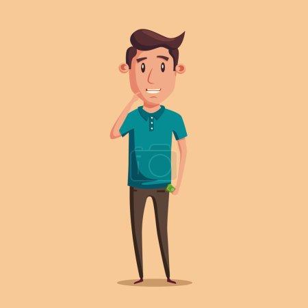 Illustration pour Un homme qui pense au choix. De l'argent pour dépenser. Illustration de dessin animé Vectro. Caractère design. Une personne mignonne. Bonne idée. . - image libre de droit