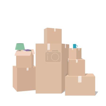 Illustration pour Déplacement avec des boîtes. Des boîtes avec des choses. Compagnie de transport. Boîte ouverte - image libre de droit