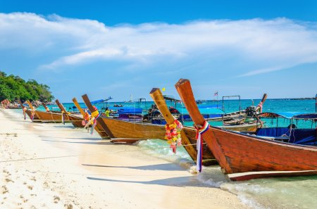Traditional Thai longtail boats