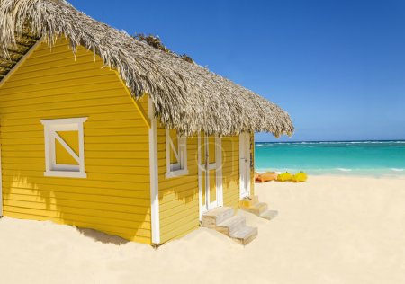 Wooden yellow beach cottage