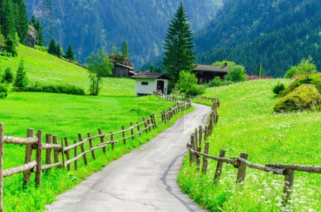 Country road and high peaks of the Alps,  Austria