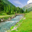 Mountain stream and the high peaks of the Austrian...