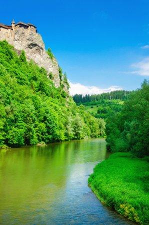 Orava Castle, river and blue sky, Slovakia