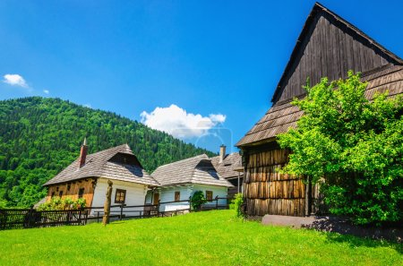 Wooden huts in Vlkolinec traditional village