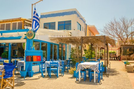 Tables and chairs in a Greek restaurant, Greece