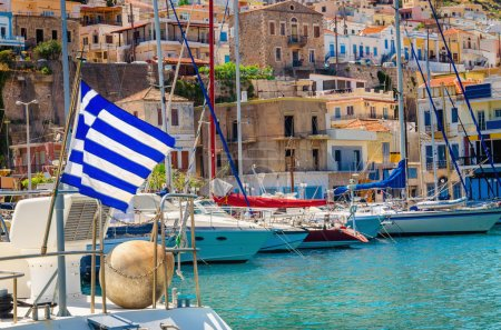 Greek flag and Greek port
