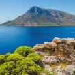 Remote volcanic island view from Kalymnos island, ...