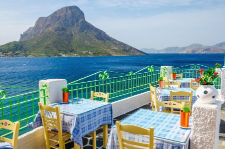Greek restaurant with teracce and sea, Greece