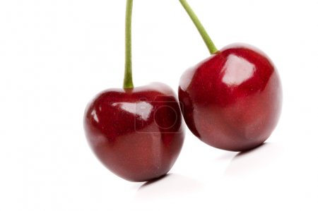 Isolated Fresh Cherries With Water Drops