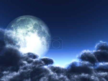 Photo pour Magique lune dans le ciel nocturne - image libre de droit