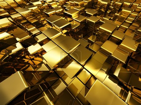 Abstract golden cubes background